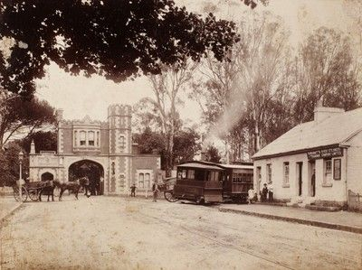 George Street, Gate House at Parramatta Park, NSW with steam tram arriving. ca. 1890.