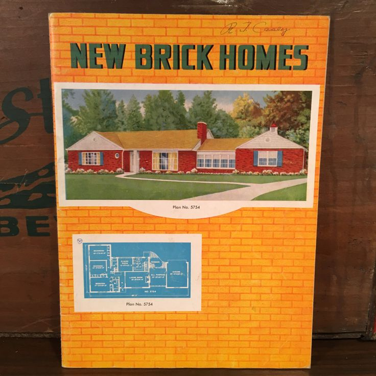 New Brick Homes 1950s Garlinghouse Building Plan Service Vintage Mid Century House Blueprint Catalog Topeka Kansas by vintagebaron on Etsy