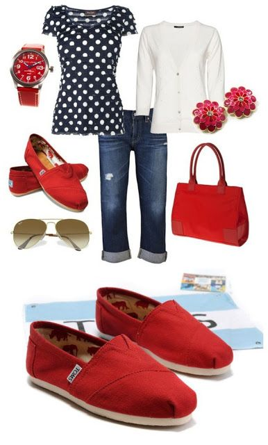 Same color scheme but red heels, blue pants, blue polka dot top & white cardi for work