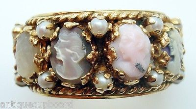 Large 14k Gold Wide Band Cameo Ring with Pearls (#C2465)