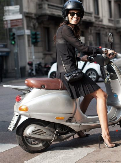 Electric Motor Scooter >> Actress Vivana Singh on her Vespa Scooter in Milan Italy.   Scooter girl, Vespa, Vespa girl