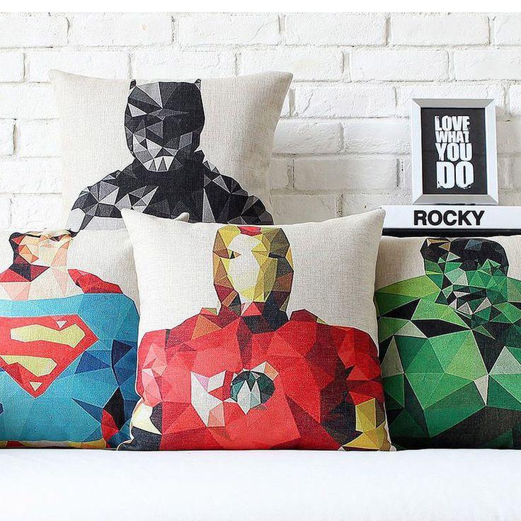 Super Heros cushions/ pillow sham Ironman/Superman/Batman/Green Lantern/The Flash/Captain America decorative pillows
