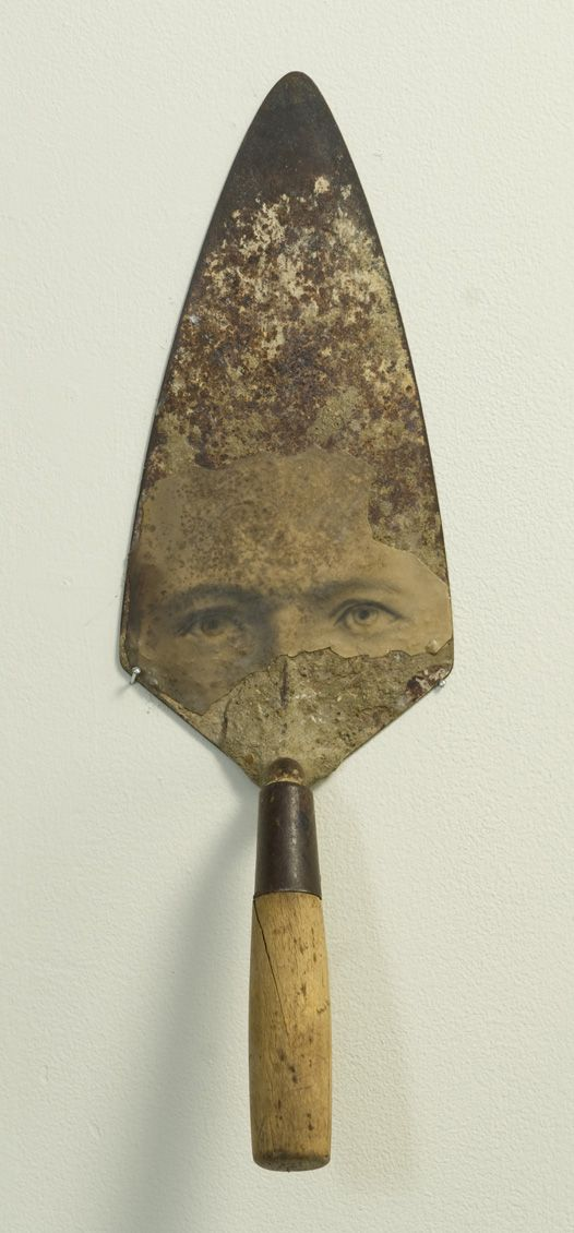 Assemblage by James Michael Starr: Found-object construction of mortar trowel and photographic print