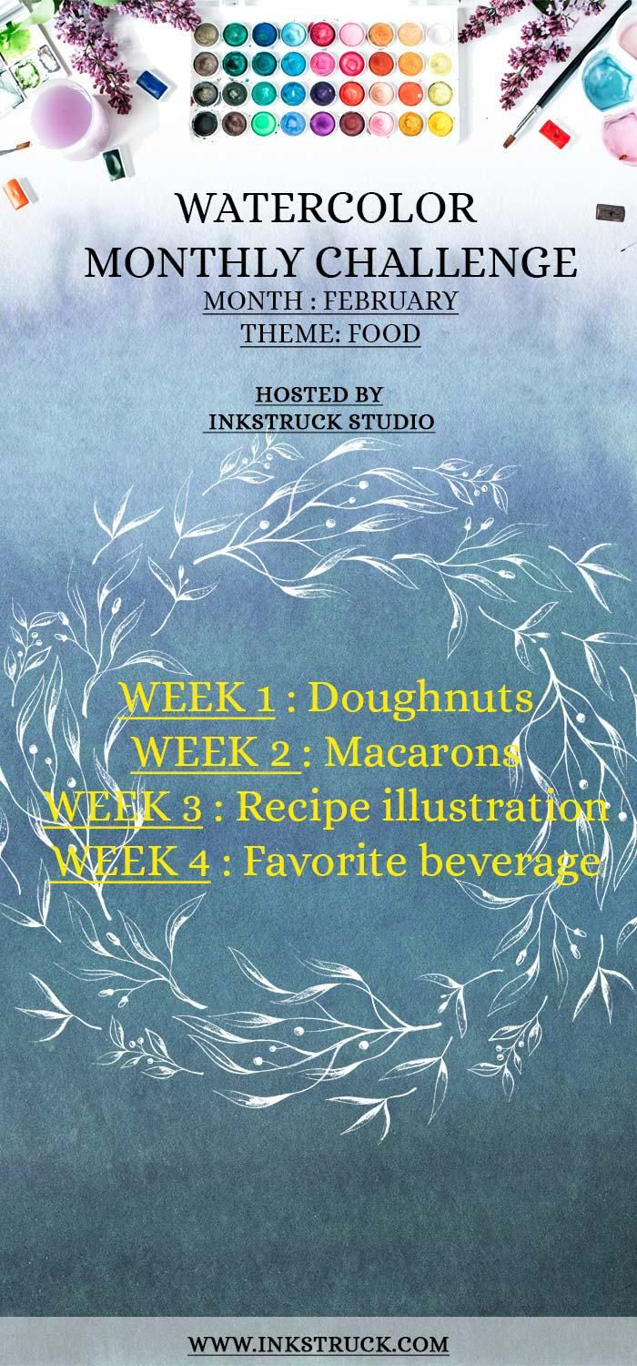 Take my 2018 February watercolor prompts to help improve your skill. This month's challenge topic is food and you're sure to love it - Inkstruck Studio