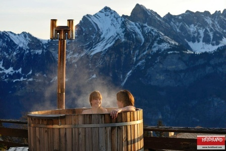 Hottub in the Flumserberg Mountains with the Sichelkamm Mountain in view.
