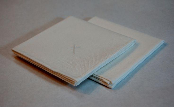 "100% cotton women's handkerchiefs; 12"" x 12""; hand rolled hems with 3/4"" splitstitch cross hand embroidered in corner; white; 1/2/17"