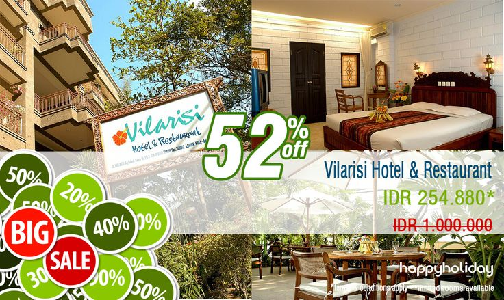 """Let's go on holiday in Bali and stay at """" Vilarisi Hotel & Restaurant """"  book now before the promo is die haha #lol die  http://www.happyholiday.travel/hotel/bali/vilarisi-hotel-restaurant-legian-615848"""