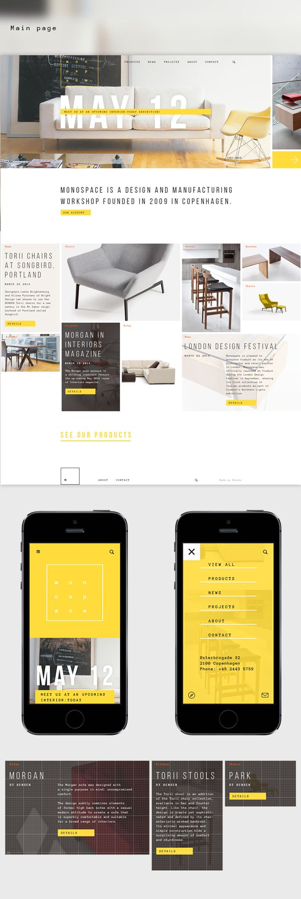 Identity and website concept for Monospace furniture workshop. All product images used for educational purposes only.