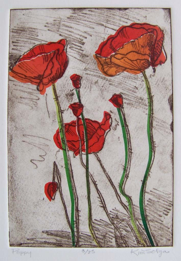 Red #Poppies by Kim Solga softground #etching with chine colle in red orange green. $ 195.00, via Etsy.Solga Softground, Poppies Softground, Solga Etchings, 195 00, Chine Colle, Red Poppies, Red Orange, Softground Etchings