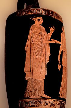 Ancient Greece: Woman wearing an Ionic chiton, it pins at her shoulders and all the way down her arm