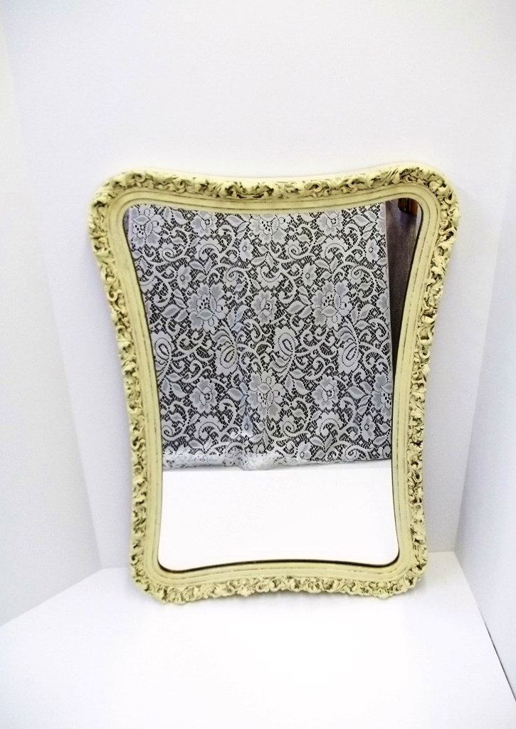 Ornate Antique White Wall Mirror Unusual Shape Shabby Chic Wood Gesso Wall Mirror Cream Ivory Wall Mirror Cottage Entry Foyer Mirror DD 893 by donDiLights on Etsy