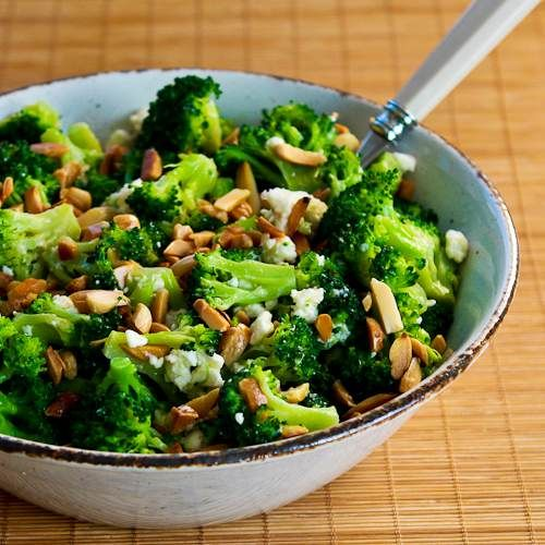 Recipe for Barely-Blanched Broccoli Salad with Feta and Fried Almonds from Kalyn's Kitchen   #SouthBeachDietRecipes #LowGlycemicRecipes