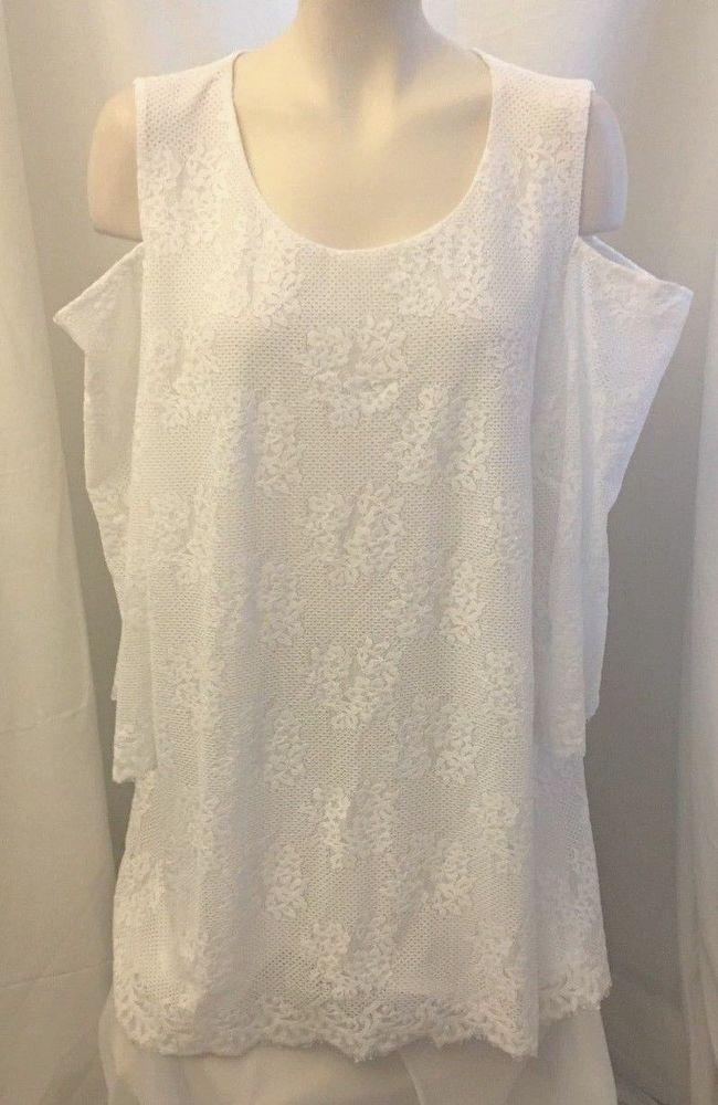 cc65600ceb1f5 Alfani Women s Size 3X White Floral Lace Cold Shoulder Scoop Neck Top Tunic  New