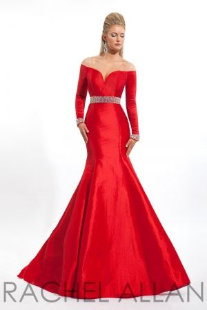 Stunning off the shoulder taffeta gown with beading at waist and wrists. Call 1-815-782-8877 to order!