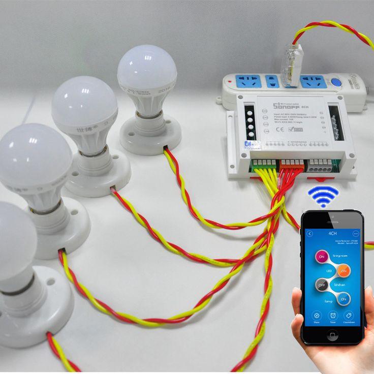 Itead sonoff 4ch 4 Canales WiFI Interruptor de Montaje En Carril Din conmutador Inalámbrico, teléfono inteligente domótica para el eco de Alexa control de APP