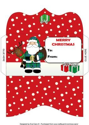 Santa and Rudolf Money Wallet 2 on Craftsuprint designed by Eva Cano - Money wallet featuring Santa and Rudolf the red nose reindeer for Christmas occasions. Available in other colours.  - Now available for download or print and post!