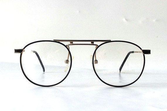 vintage 90's NOS matte black round eyeglasses metal gold frame modern retro eye glasses eyewear mario martinelli double bridge scholar men