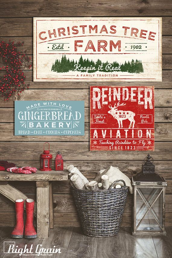framed christmas tree farm sign rustic holiday art for country farmhouse - Rustic Christmas Decorations