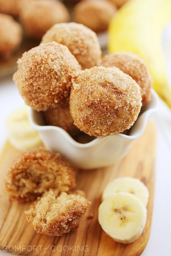 ❈Baked Cinnamon-Sugar Banana Donut Holes.❈ baked in mini muffin  tins. ***used half whole wheat flour- turned out dry.