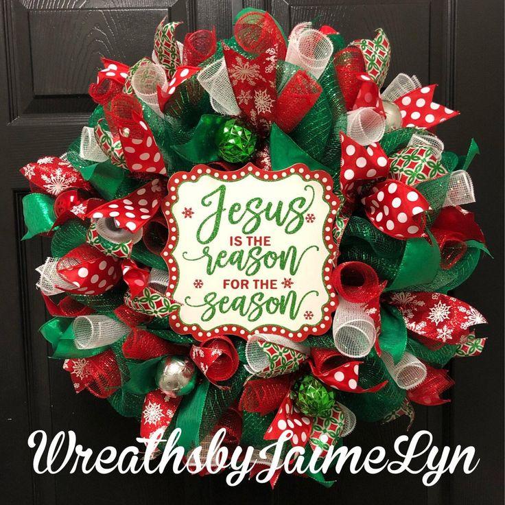 Christmas wreath, Jesus is the reason wreath, Christian Christmas Wreath