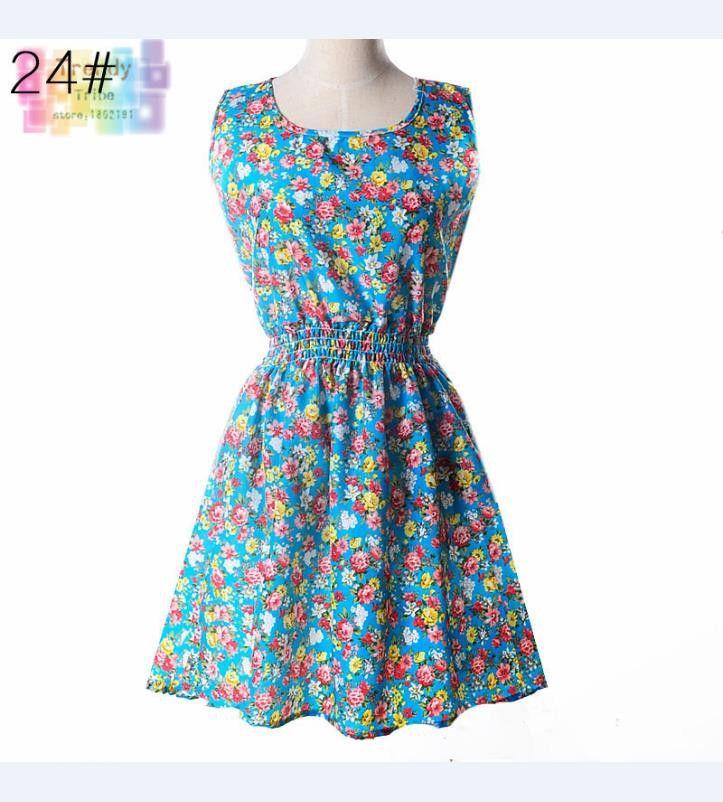 Sundress Party Summer Women Dress Casual Vestidos Jumper Chiffon Stripe Floral Print Elastic Waist