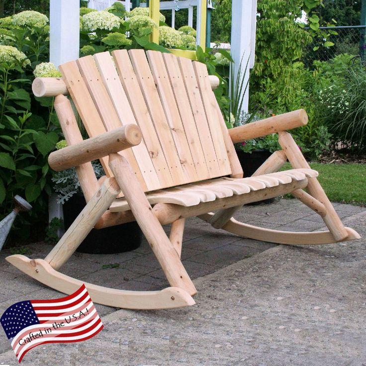 Lakeland Mills Classic White Cedar Log Rocking Loveseat Bench | from hayneedle.com