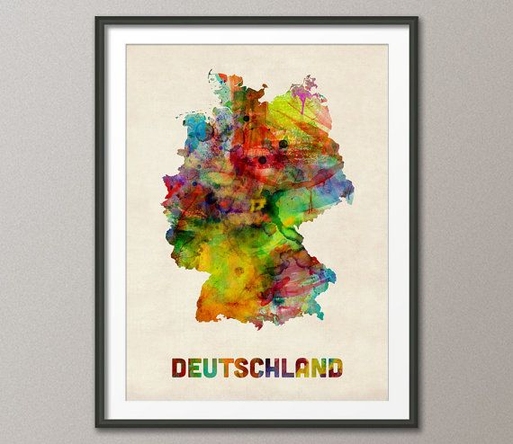 Germany Watercolor Map (Deutschland), Art Print - 12x16 up to 24x36 inch (431) on Etsy, $21.83
