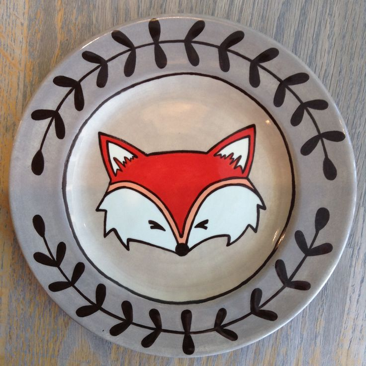 Cute Fox Plate | Paint Your Own Pottery | Paint Your Pot | Cary, North Carolina