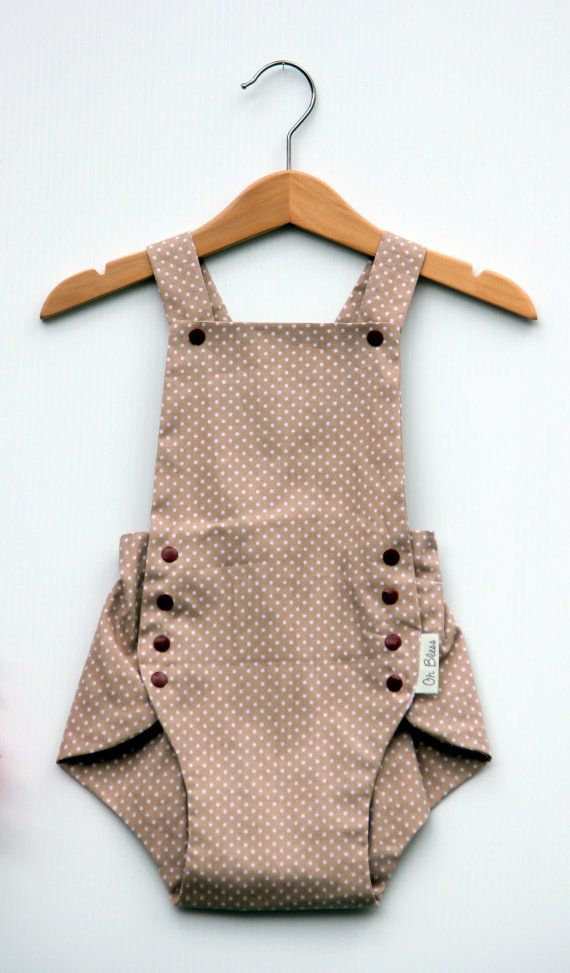 Retro vintage baby romper / playsuit with adjustable by OhBless
