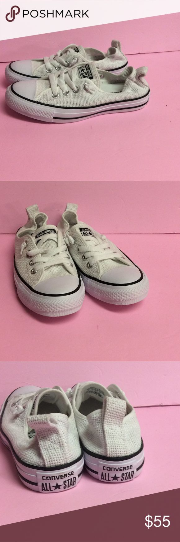 New Converse Shoreline Summer White CT Slip Ons New Converse Shoreline Summer White Chuck Taylor All Star style 547239.  Women's Sneakers. Perfect for summer.  Also have a black pair listed in same size. Brand new, never worn shoes without box as pictured. Only have sizes listed. Converse Shoes Sneakers