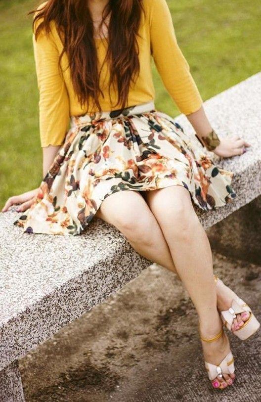 Mustard Yellow Top & Floral Skirt