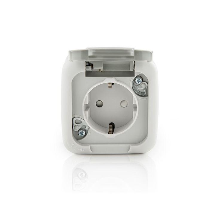 Toma de Corriente con Toma de Tierra Lateral 16A 250V/ Protección Infantil/ Tapa IP54 Exterior Gris - Venta de Material Electrico