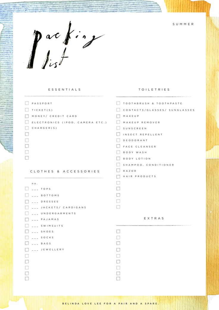 Packing List | by Belinda Love Lee for A Pair and A Spare