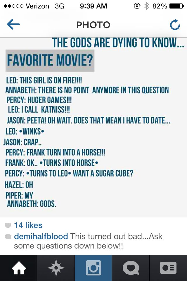 When fandoms collide! Haha, I can imagine Leo in Katniss's outfit and Percy dressed in a fishing net with Frank be his side, and Annabeth is blushing and AH! Perfection!