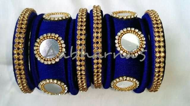 navy blue silk thread bangles