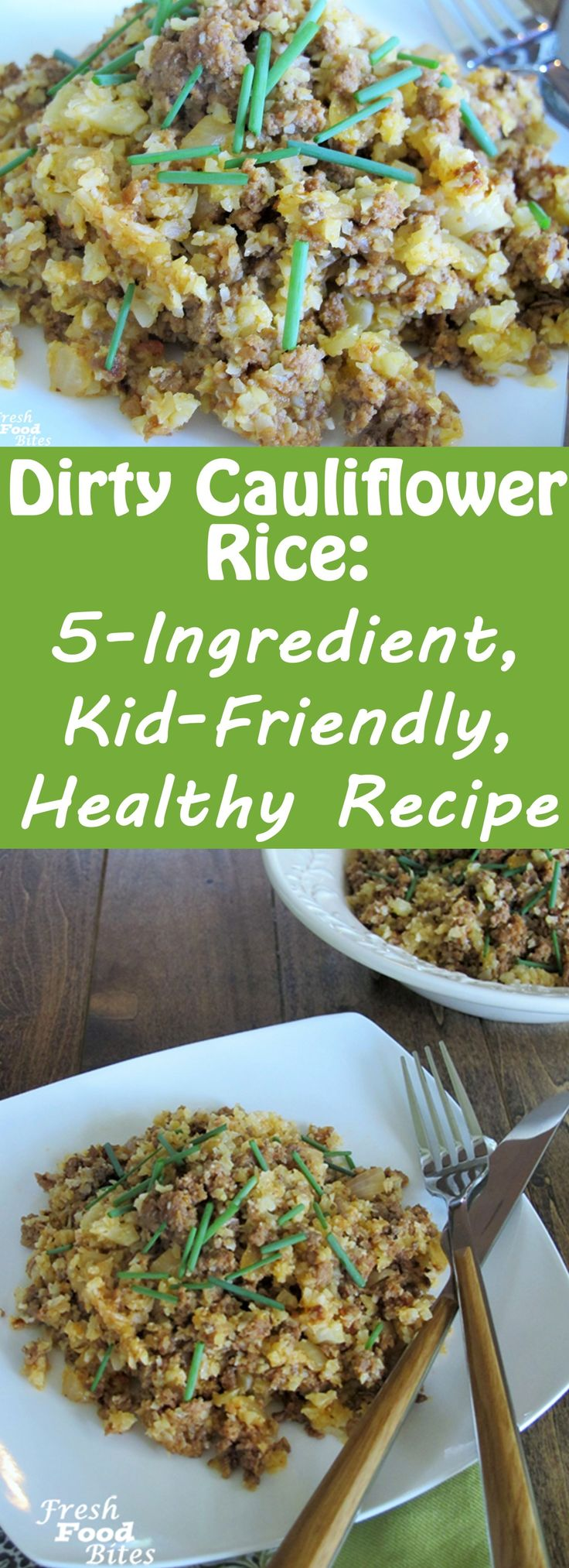 Make this healthifyied, veggie-filled Dirty Cauliflower Rice next time you are looking for a 5-ingredient, kid-friendly, healthy recipe. It's full of flavor and short on ingredients, which means you'll spend next to no time (25 minutes to be specific) in the kitchen to get dinner on the table. Kids love this recipe and don't need to know they are eating cauliflower (unless you want to tell them, that is!).