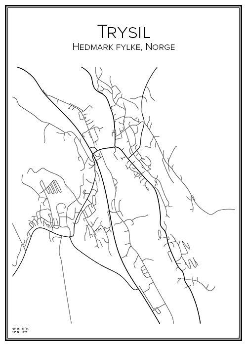 Trysil. Norge. Norway. Karta. City print. Print. Affisch. Tavla. Tryck.