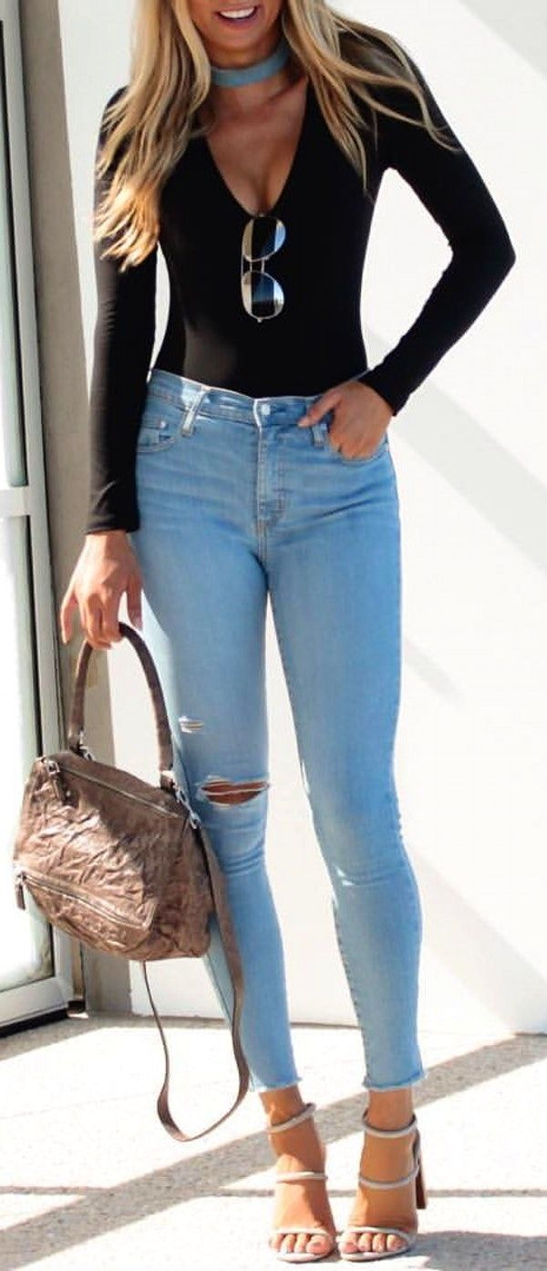478960fcbc  spring  outfits Favourite Denim 💙    Black Top + Ripped Bleached Skinny  Jeans + Grey Sandals