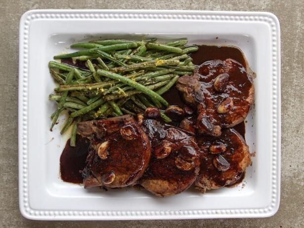 Get Pork Chops with Wine and Garlic Recipe from Food Network.. Ree ....Can use white wine instead of red.
