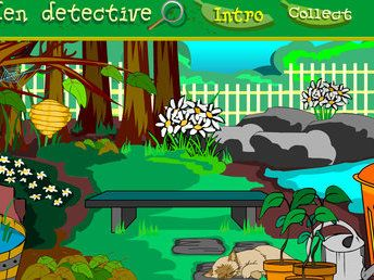 Garden detective: explore a New Zealand garden (F–2). Students examine the garden with the magnifying glass looking for different creatures. Once found, a description of the creature with some of its distinguishing characteristics is displayed.