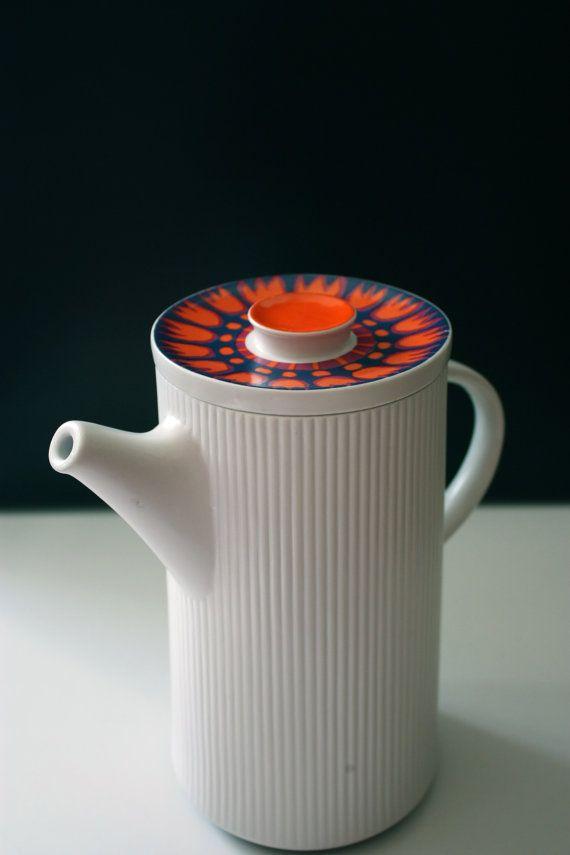 Thomas Flammfest Coffee Pot Orange Tulips by TriBecasVintage, $60.00