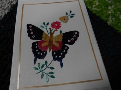 Fair trade : Wheat straw butterfly design greeting card.