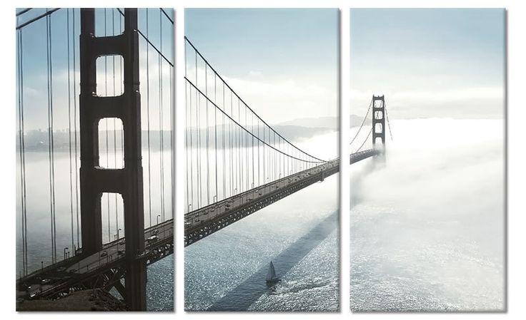 Drieluik canvas schilderij Golden Gate Bridge San Francisco in Mist