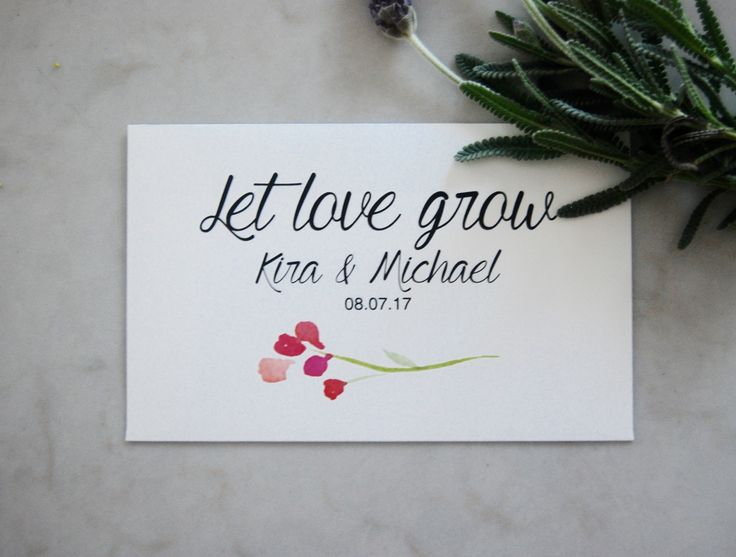 Personalized wedding seed envelope. Let love grow. Beautiful envelopes with seeds of wildflowers for your guests.Plant this seeds and watch them bloom, like the love of bride and groom.