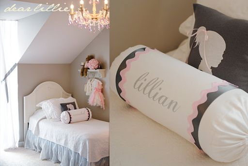 pink brown girls bedroom decor via lilblueboo.com  remove cabinets to make double twin bed arrangement