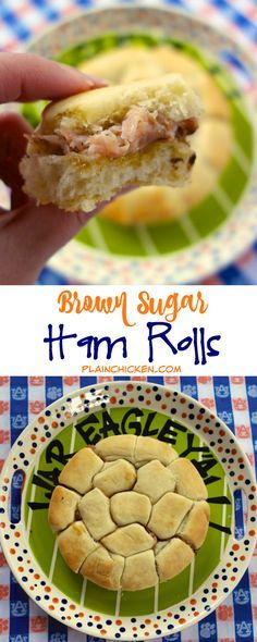 Brown Sugar Ham Rolls - Sister Schubert rolls split and brushed with a brown sugar glaze and topped with swiss and deli ham - great for parties! Can make ahead of time and freeze for later. These things fly off the plate!!