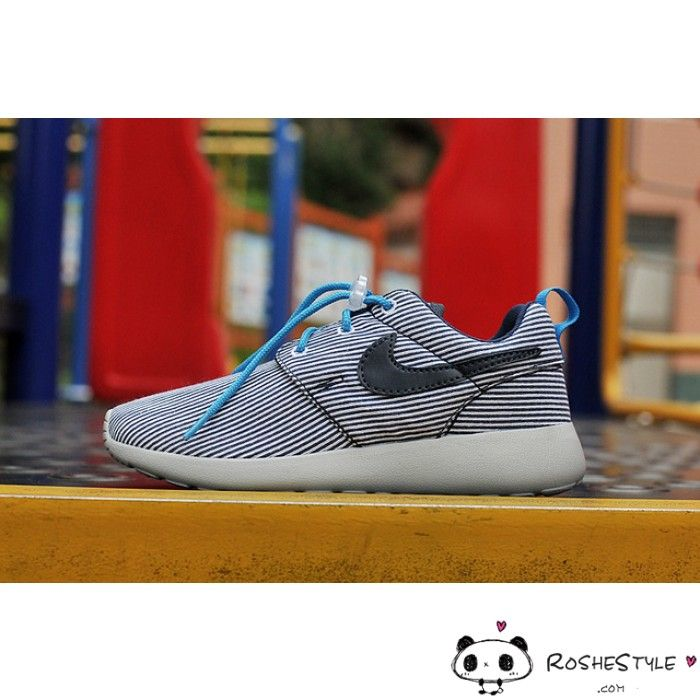 Kids Nike Roshe Run Mesh Black Stripe White Blue