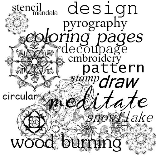 What are Mandalas?  These are fascinating and almost hypnotic circular patterns - color them, use them for a stencil, tattoo, for decoupage, as inspiration for embroidery designs; whatever you like.