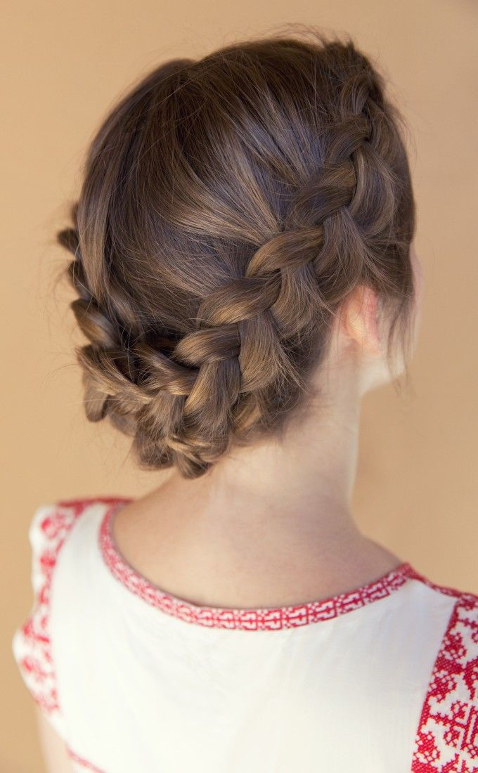 DIY Boho Braided Crown. Section Hair into 3 parts. Create a braided bun at the nape of your neck, and french braid both sides of your hair into pony tails. Pin them all to the back and you're set with a cute summer hairstyle! Inspired by L'Oreal Advanced Hairstyle