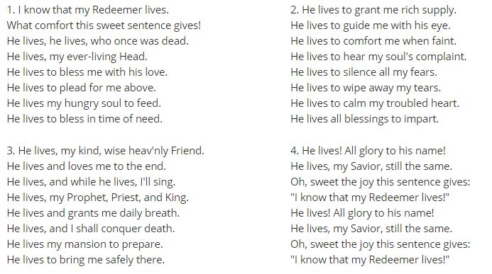 #THANKFUL FOR HYMN #136 https://www.lds.org/music/library/hymns/i-know-that-my-redeemer-lives?lang=eng